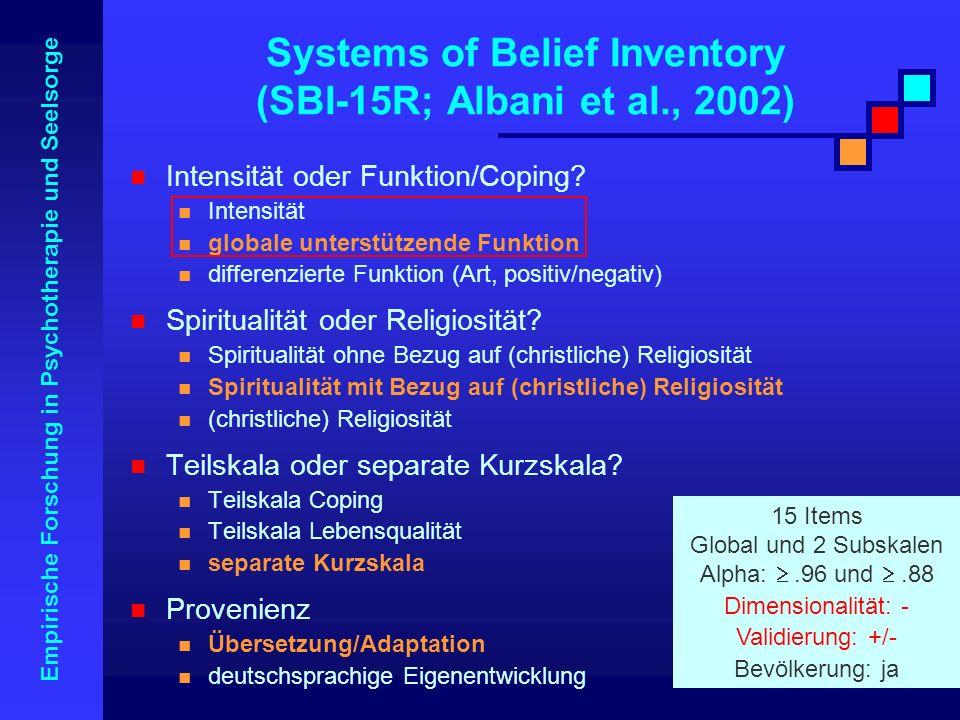 Empirische Forschung in Psychotherapie und Seelsorge Systems of Belief Inventory (SBI-15R; Albani et al., 2002) Intensität oder Funktion/Coping? Inten