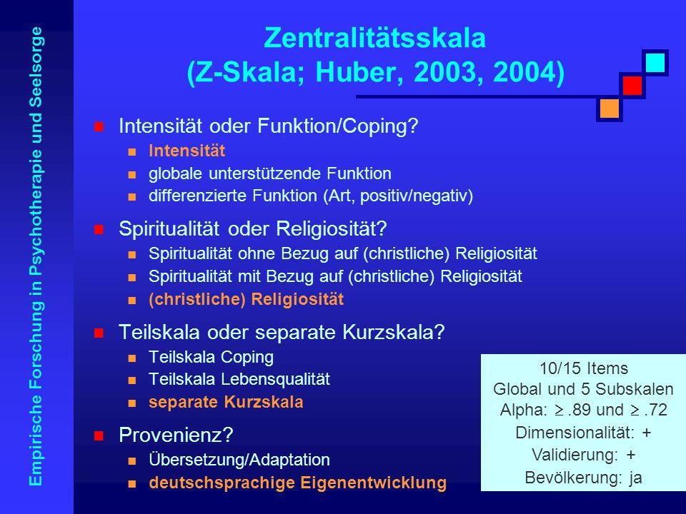 Empirische Forschung in Psychotherapie und Seelsorge Zentralitätsskala (Z-Skala; Huber, 2003, 2004) Intensität oder Funktion/Coping? Intensität global
