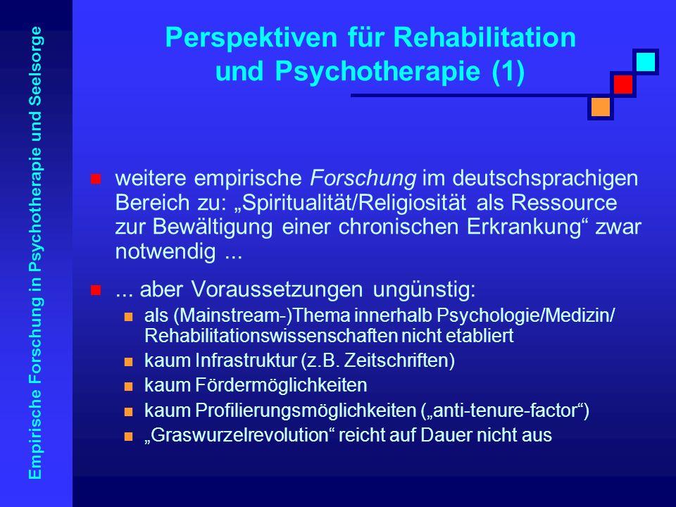 Empirische Forschung in Psychotherapie und Seelsorge weitere empirische Forschung im deutschsprachigen Bereich zu: Spiritualität/Religiosität als Ress