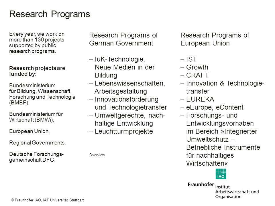 a a a © Fraunhofer IAO, IAT Universität Stuttgart Research Programs Every year, we work on more than 130 projects supported by public research program