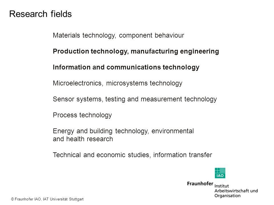 a a a © Fraunhofer IAO, IAT Universität Stuttgart Research fields Materials technology, component behaviour Production technology, manufacturing engin