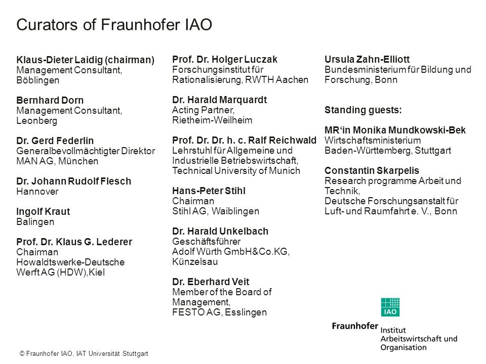a a a © Fraunhofer IAO, IAT Universität Stuttgart Research Volume: 33,5 million euro* Contract research from private industry Project financing from federal and regional government and the European Union Basic financing and special funds 11 % 48 % 41 % *2001, inclusive IAT