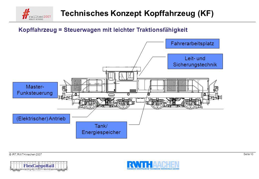 Seite 10 © IRT,RWTH Aachen 2007 (Elektrischer) Antrieb Tank/ Energiespeicher Master- Funksteuerung Technisches Konzept Kopffahrzeug (KF) Kopffahrzeug