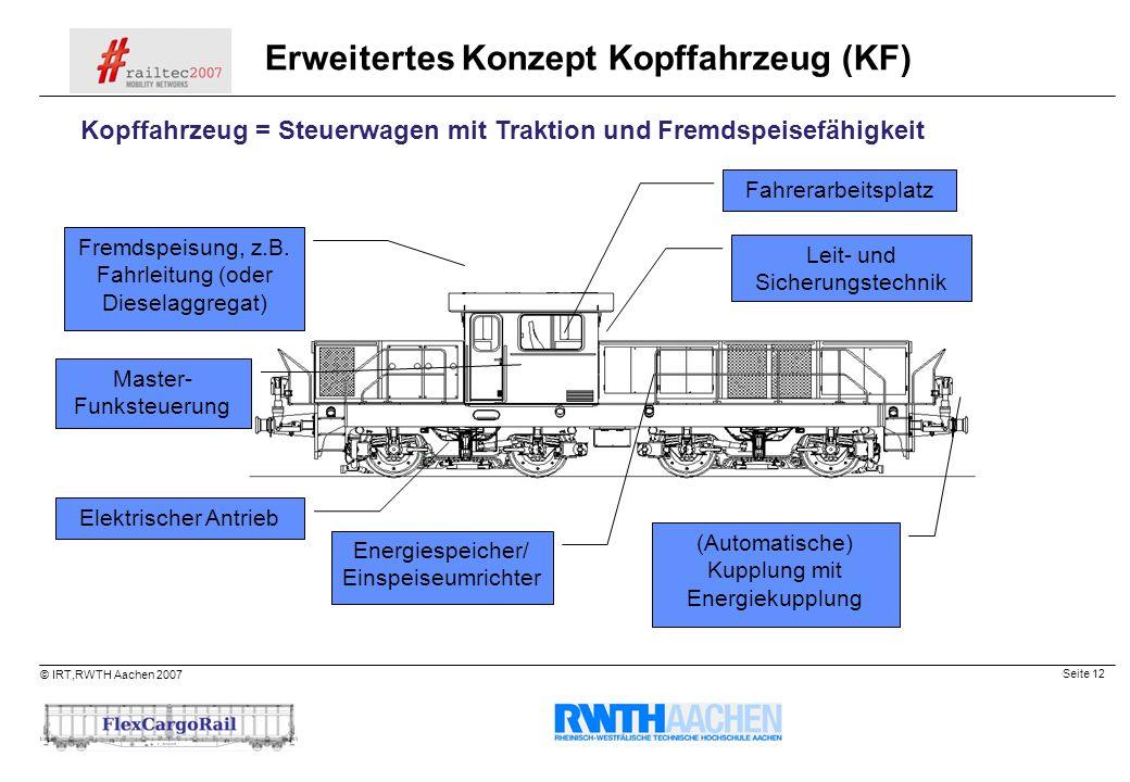Seite 12 © IRT,RWTH Aachen 2007 Elektrischer Antrieb Energiespeicher/ Einspeiseumrichter Master- Funksteuerung Fahrerarbeitsplatz Leit- und Sicherungs