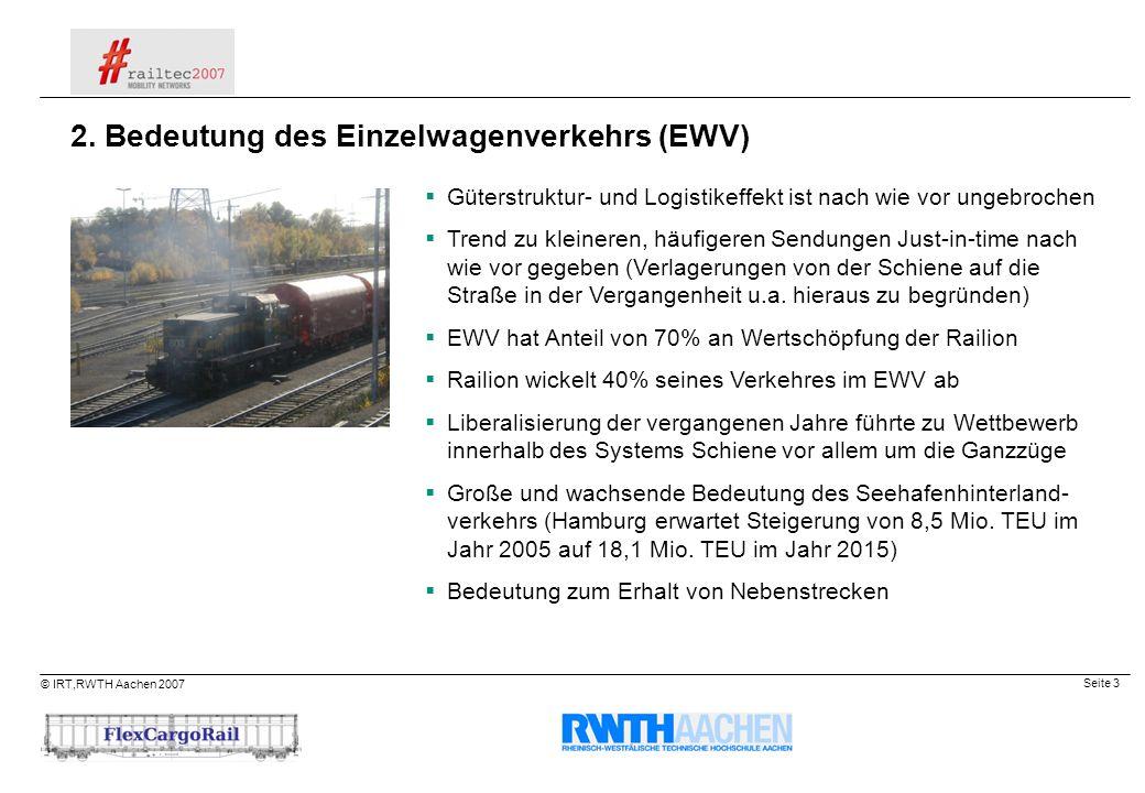 Seite 3 © IRT,RWTH Aachen 2007 Güterstruktur- und Logistikeffekt ist nach wie vor ungebrochen Trend zu kleineren, häufigeren Sendungen Just-in-time na