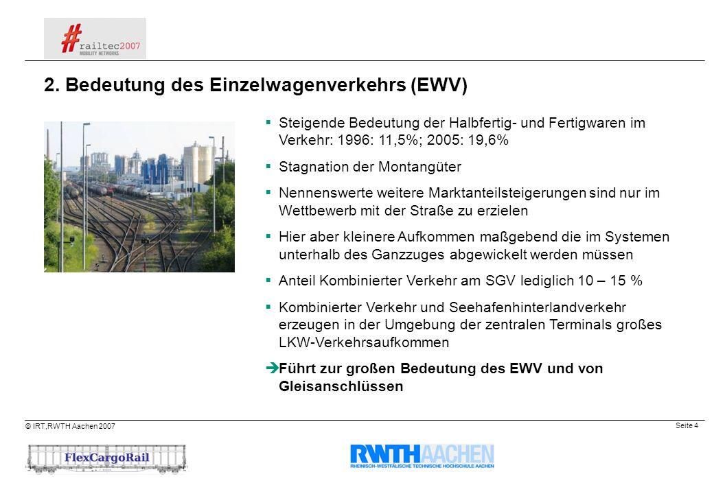 Seite 4 © IRT,RWTH Aachen 2007 Steigende Bedeutung der Halbfertig- und Fertigwaren im Verkehr: 1996: 11,5%; 2005: 19,6% Stagnation der Montangüter Nen