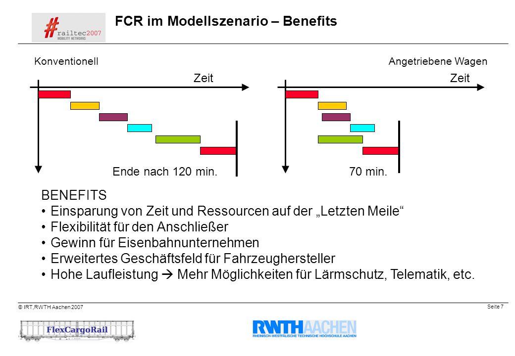 Seite 7 © IRT,RWTH Aachen 2007 FCR im Modellszenario – Benefits KonventionellAngetriebene Wagen Zeit Ende nach 120 min.70 min. Zeit BENEFITS Einsparun