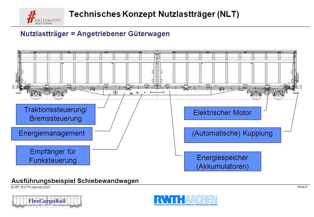 Seite 8 © IRT,RWTH Aachen 2007 Technisches Konzept Nutzlastträger (NLT) Traktionssteuerung/ Bremssteuerung Elektrischer Motor Empfänger für Funksteuer