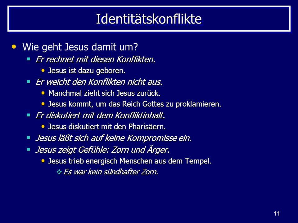 11 IdentitätskonflikteIdentitätskonflikte Wie geht Jesus damit um? Er rechnet mit diesen Konflikten. Er rechnet mit diesen Konflikten. Jesus ist dazu