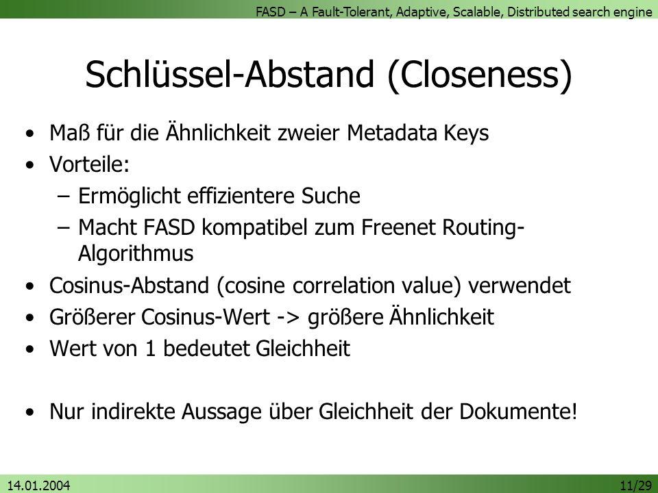 FASD – A Fault-Tolerant, Adaptive, Scalable, Distributed search engine 14.01.200411/29 Schlüssel-Abstand (Closeness) Maß für die Ähnlichkeit zweier Me