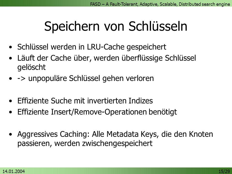 FASD – A Fault-Tolerant, Adaptive, Scalable, Distributed search engine 14.01.200415/29 Speichern von Schlüsseln Schlüssel werden in LRU-Cache gespeichert Läuft der Cache über, werden überflüssige Schlüssel gelöscht -> unpopuläre Schlüssel gehen verloren Effiziente Suche mit invertierten Indizes Effiziente Insert/Remove-Operationen benötigt Aggressives Caching: Alle Metadata Keys, die den Knoten passieren, werden zwischengespeichert