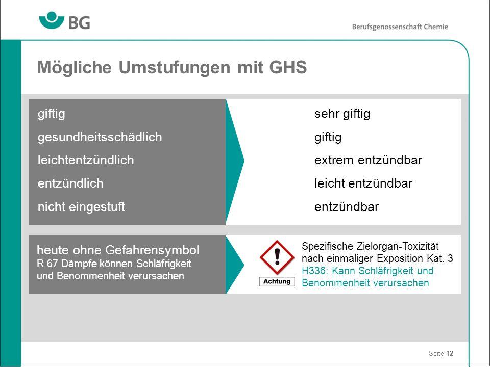 Mögliche Umstufungen mit GHS Seite 12 giftig gesundheitsschädlich leichtentzündlich entzündlich nicht eingestuft sehr giftig giftig extrem entzündbar