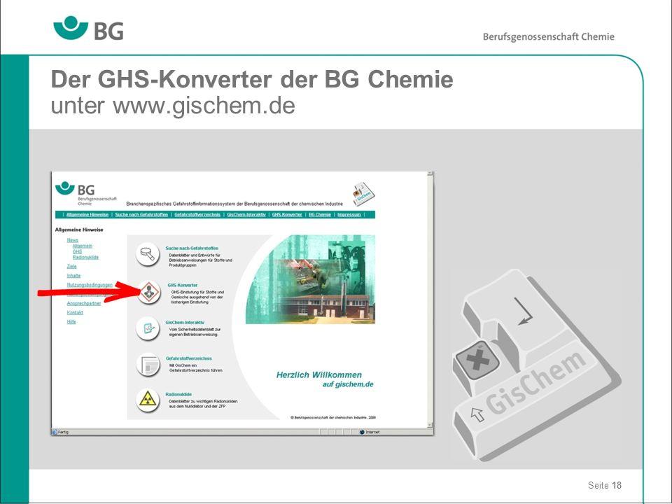 Der GHS-Konverter der BG Chemie unter www.gischem.de Seite 18