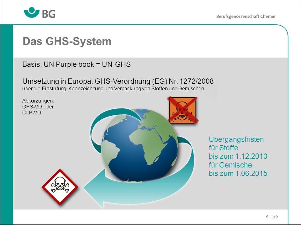 Das GHS-System Seite 2 Basis: UN Purple book = UN-GHS Umsetzung in Europa: GHS-Verordnung (EG) Nr. 1272/2008 über die Einstufung, Kennzeichnung und Ve