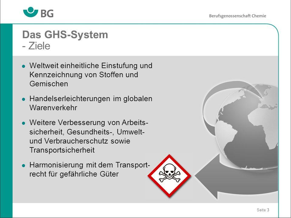 Das GHS-System - Ziele Seite 3 Weltweit einheitliche Einstufung und Kennzeichnung von Stoffen und Gemischen Handelserleichterungen im globalen Warenve