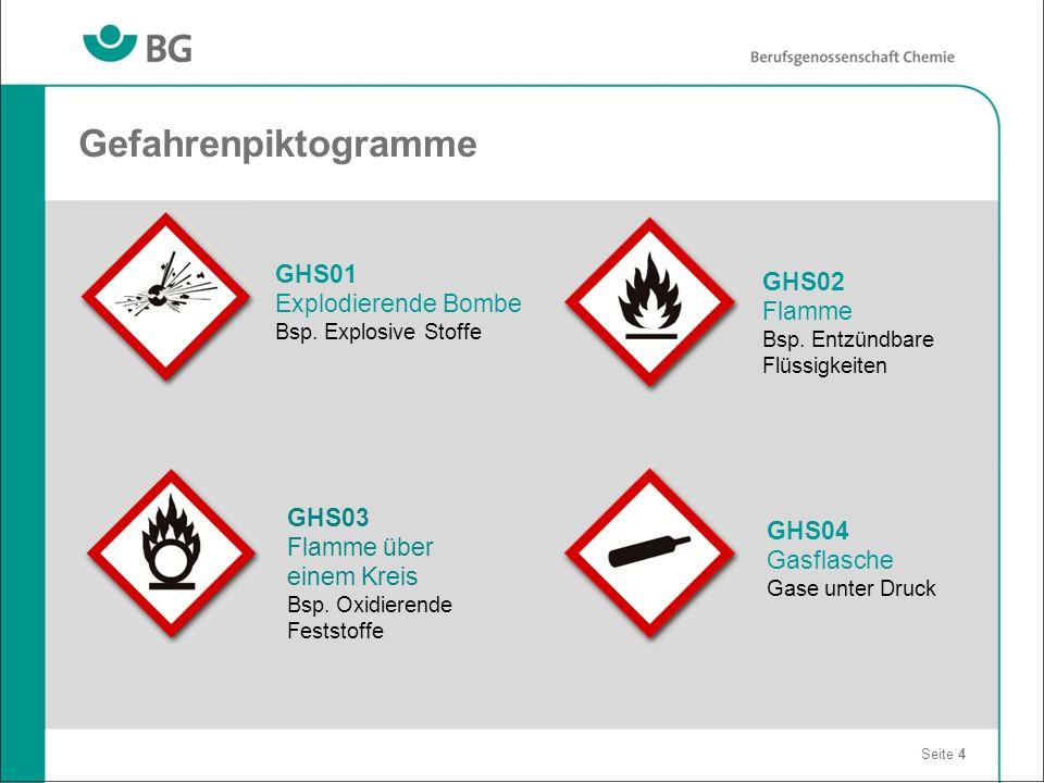 Gefahrenpiktogramme Seite 4 GHS03 Flamme über einem Kreis Bsp. Oxidierende Feststoffe GHS04 Gasflasche Gase unter Druck GHS02 Flamme Bsp. Entzündbare