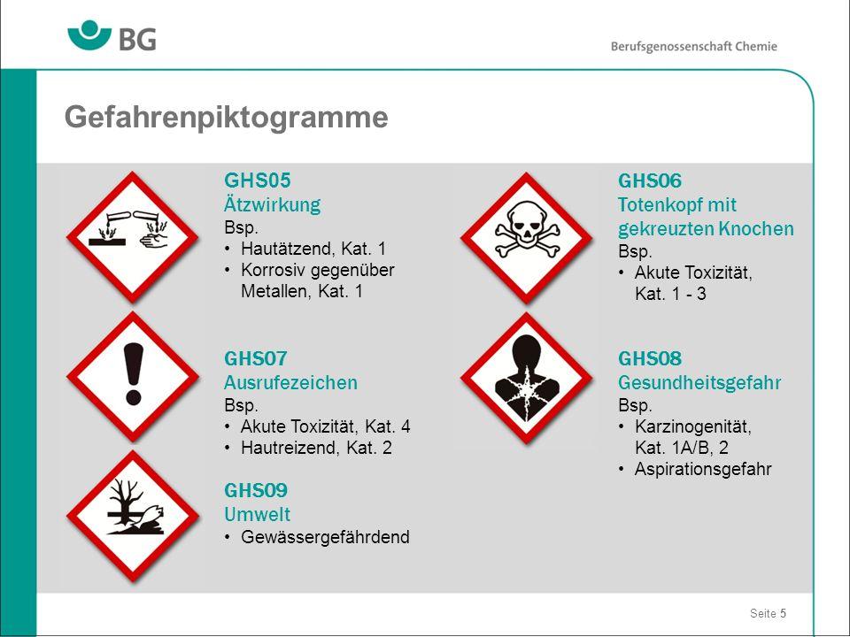 Seite 5 GHS06 Totenkopf mit gekreuzten Knochen Bsp. Akute Toxizität, Kat. 1 - 3 GHS08 Gesundheitsgefahr Bsp. Karzinogenität, Kat. 1A/B, 2 Aspirationsg