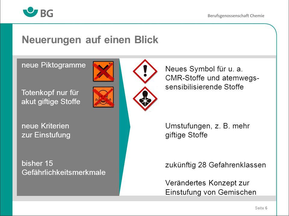 Neuerungen auf einen Blick Seite 6 neue Piktogramme bisher 15 Gefährlichkeitsmerkmale Neues Symbol für u. a. CMR-Stoffe und atemwegs- sensibilisierend