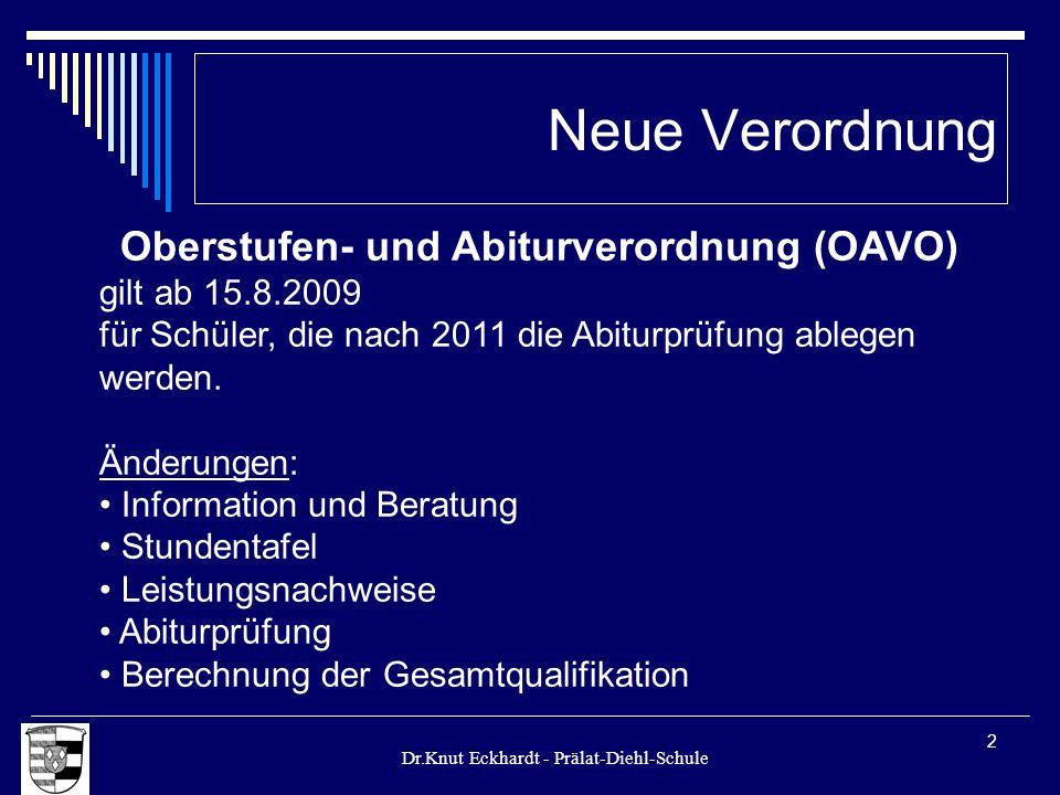 Dr.Knut Eckhardt - Prälat-Diehl-Schule 2 Neue Verordnung Oberstufen- und Abiturverordnung (OAVO) gilt ab 15.8.2009 für Schüler, die nach 2011 die Abit