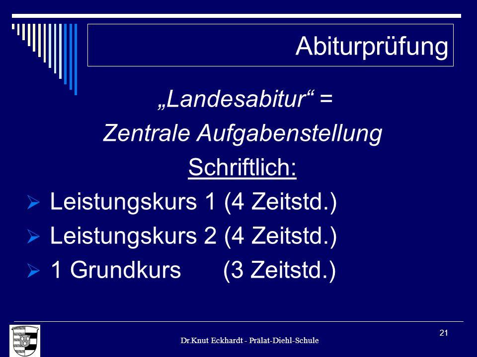 Dr.Knut Eckhardt - Prälat-Diehl-Schule 21 Landesabitur = Zentrale Aufgabenstellung Schriftlich: Leistungskurs 1 (4 Zeitstd.) Leistungskurs 2 (4 Zeitst