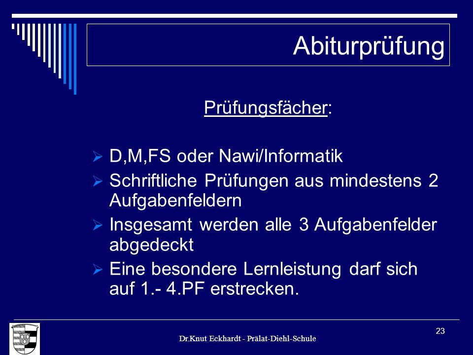 Dr.Knut Eckhardt - Prälat-Diehl-Schule 23 Prüfungsfächer: D,M,FS oder Nawi/Informatik Schriftliche Prüfungen aus mindestens 2 Aufgabenfeldern Insgesam