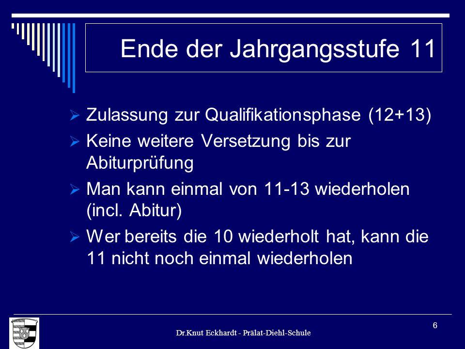 Dr.Knut Eckhardt - Prälat-Diehl-Schule 6 Ende der Jahrgangsstufe 11 Zulassung zur Qualifikationsphase (12+13) Keine weitere Versetzung bis zur Abiturp