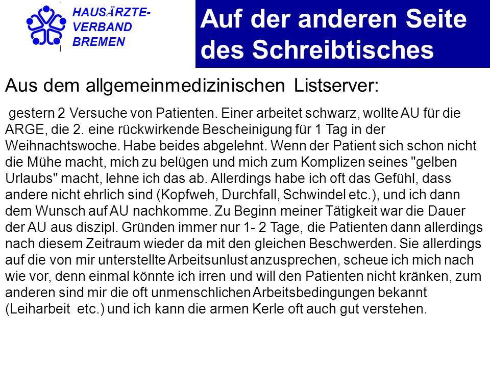 HAUS Ä RZTE- VERBAND BREMEN Rechtssprechung Nach §5 Abs.