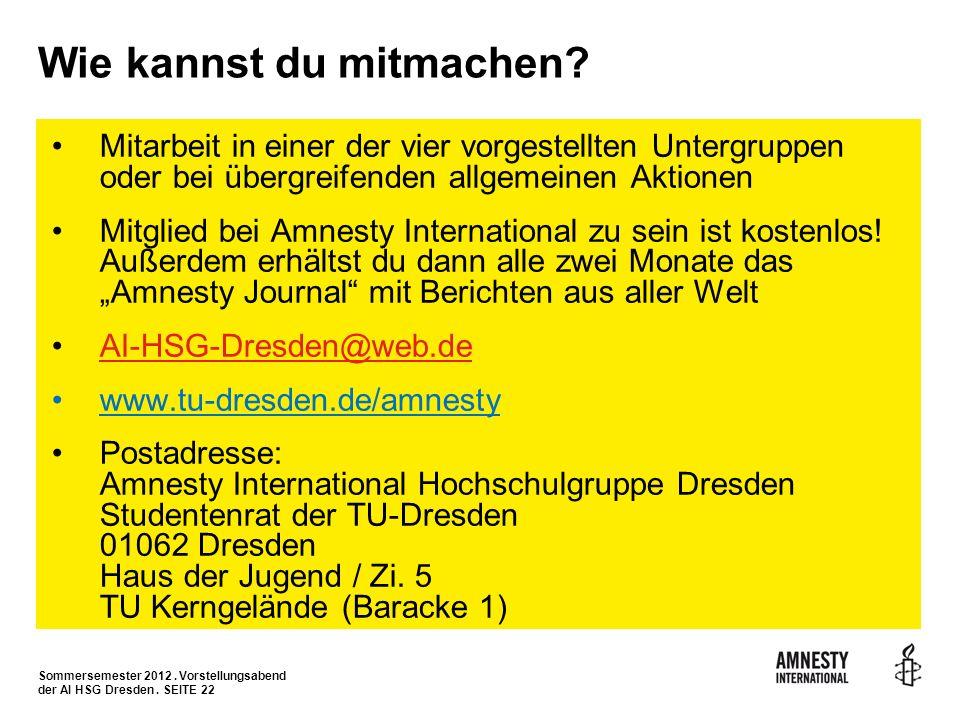 Sommersemester 2012. Vorstellungsabend der AI HSG Dresden. SEITE 22 Wie kannst du mitmachen? Mitarbeit in einer der vier vorgestellten Untergruppen od