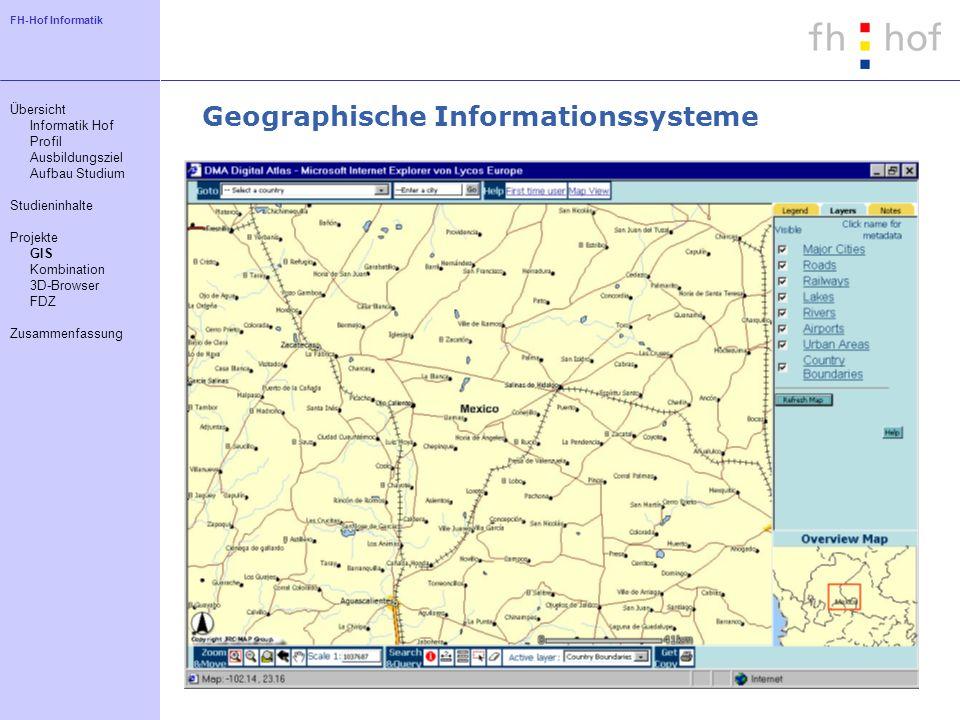 FH-Hof Informatik Geographische Informationssysteme Übersicht Informatik Hof Profil Ausbildungsziel Aufbau Studium Studieninhalte Projekte GIS Kombina