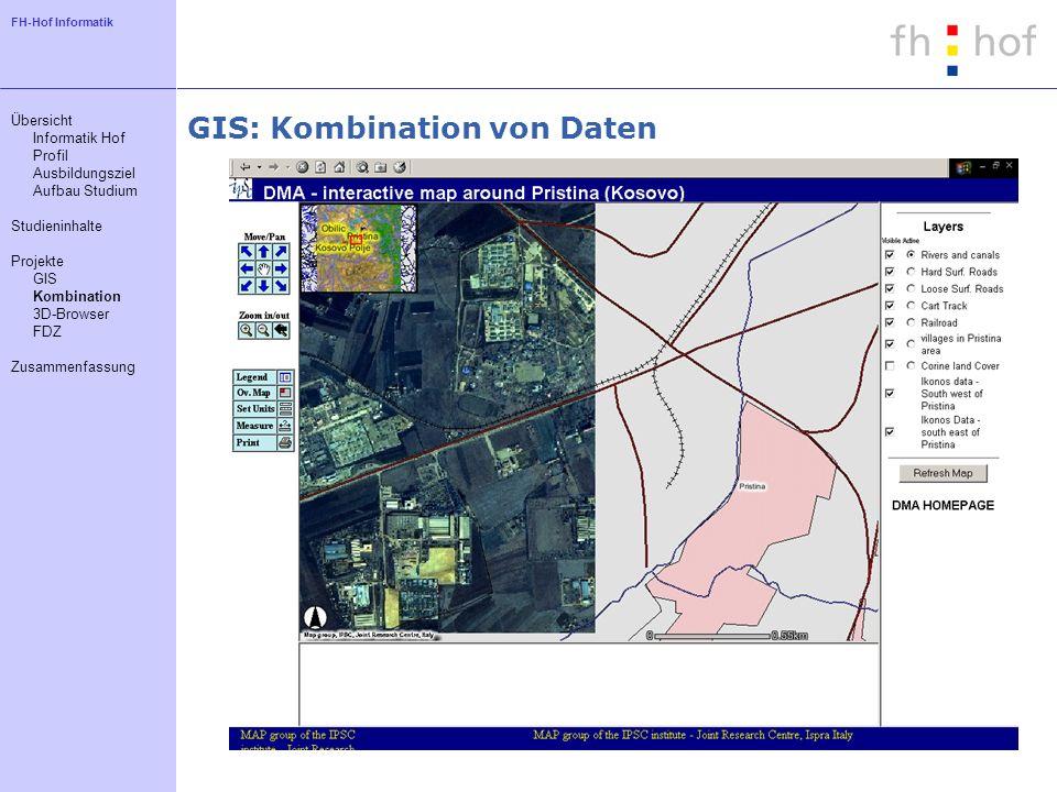 FH-Hof Informatik GIS: Kombination von Daten Übersicht Informatik Hof Profil Ausbildungsziel Aufbau Studium Studieninhalte Projekte GIS Kombination 3D
