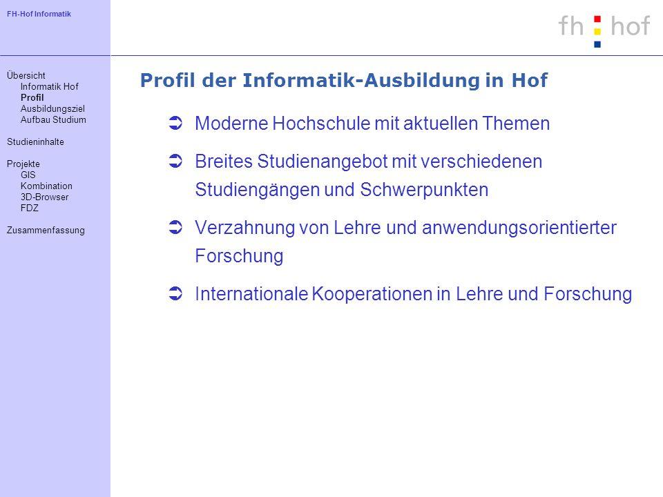 FH-Hof Informatik Profil der Informatik-Ausbildung in Hof Moderne Hochschule mit aktuellen Themen Breites Studienangebot mit verschiedenen Studiengäng