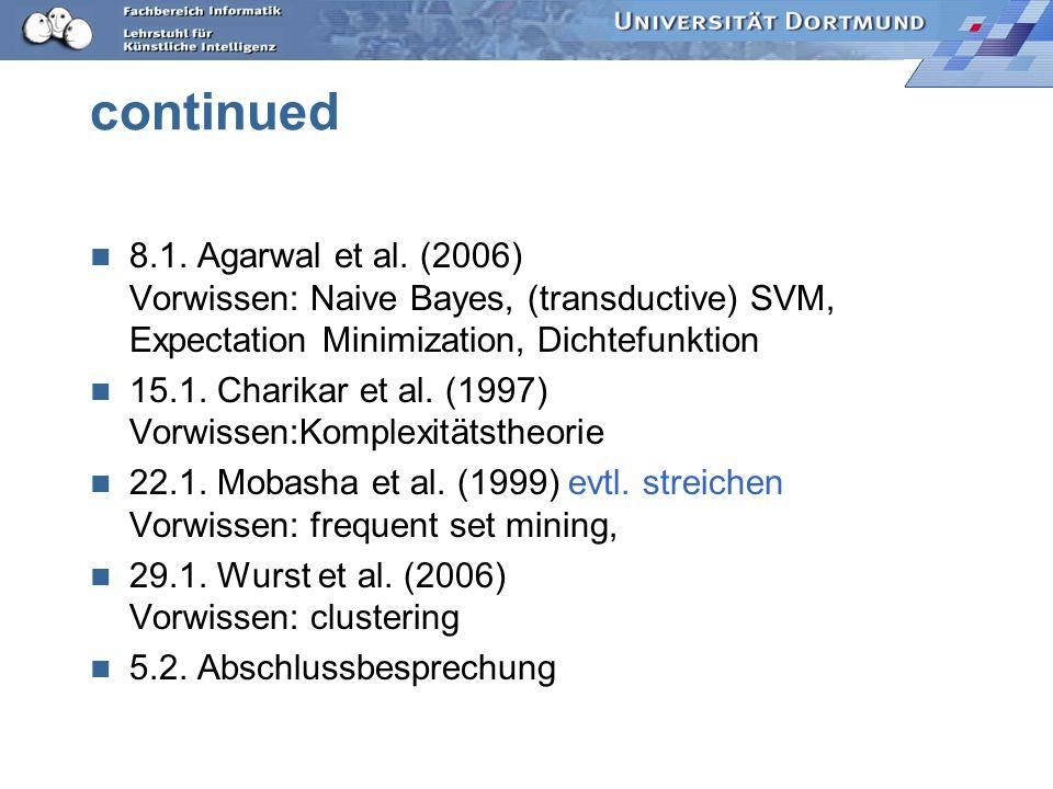 continued 8.1. Agarwal et al. (2006) Vorwissen: Naive Bayes, (transductive) SVM, Expectation Minimization, Dichtefunktion 15.1. Charikar et al. (1997)