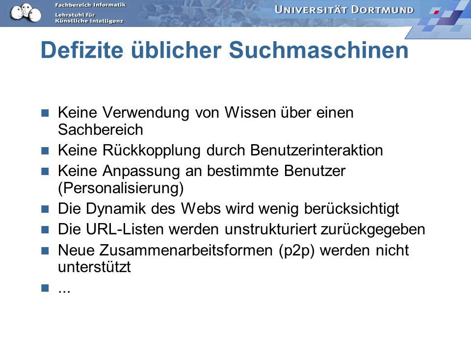 Forschungsthemen Neue Suchmaschinen Änderungsverfolgung Personalisierung Web Usage Mining (untersuchen, was Benutzer mit dem Web tun) Web Mining (untersuchen, was im Web steht) Clustering...