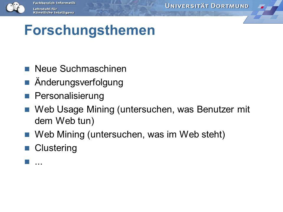 Forschungsthemen Neue Suchmaschinen Änderungsverfolgung Personalisierung Web Usage Mining (untersuchen, was Benutzer mit dem Web tun) Web Mining (unte