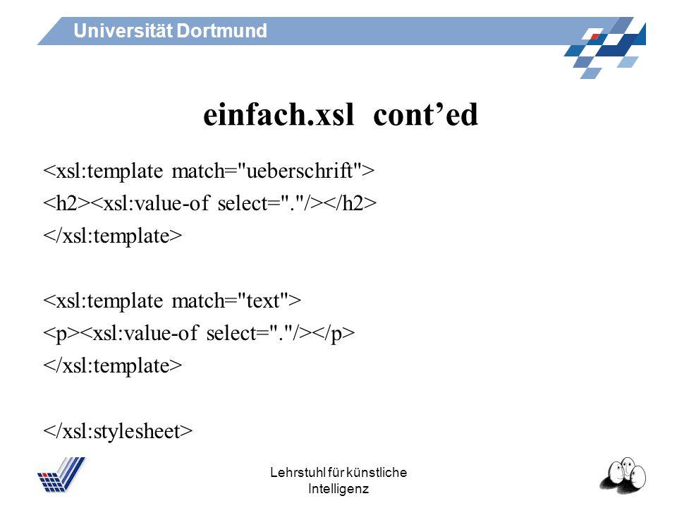 Universität Dortmund Lehrstuhl für künstliche Intelligenz einfach.xsl