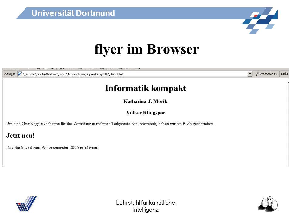 Universität Dortmund Lehrstuhl für künstliche Intelligenz flyer.html Informatik kompakt Katharina J. Morik Volker Klingspor Um eine Grundlage zu schaf
