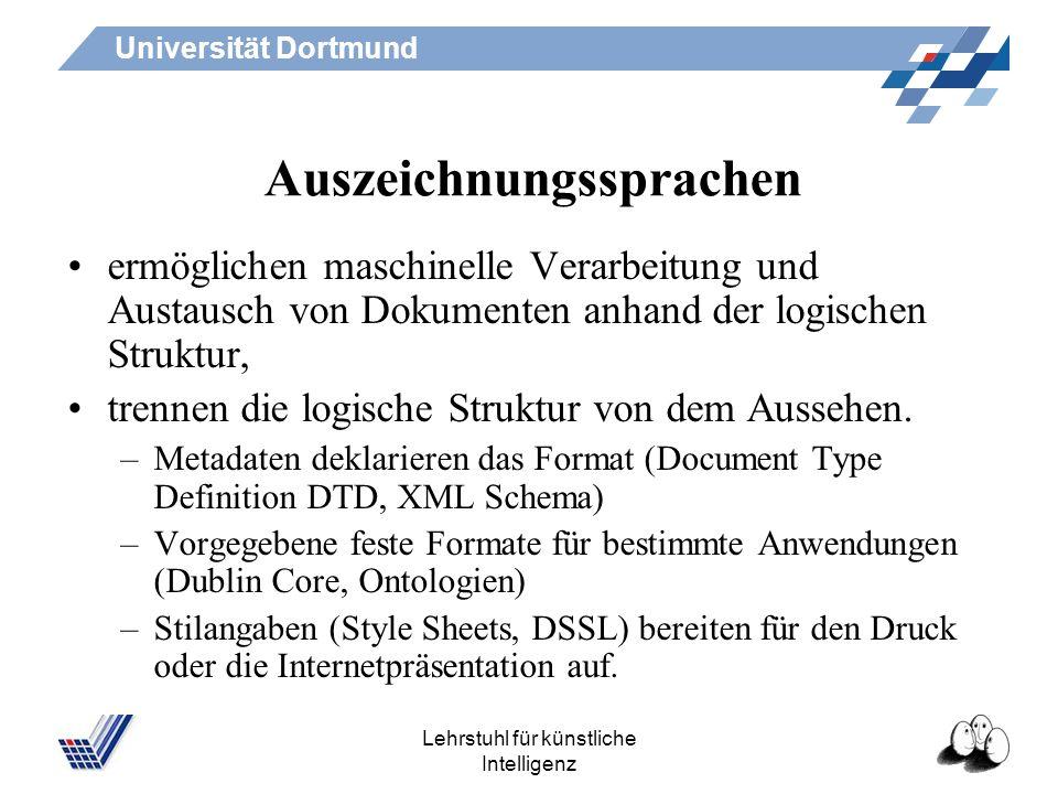 Universität Dortmund Lehrstuhl für künstliche Intelligenz flyer im Browser