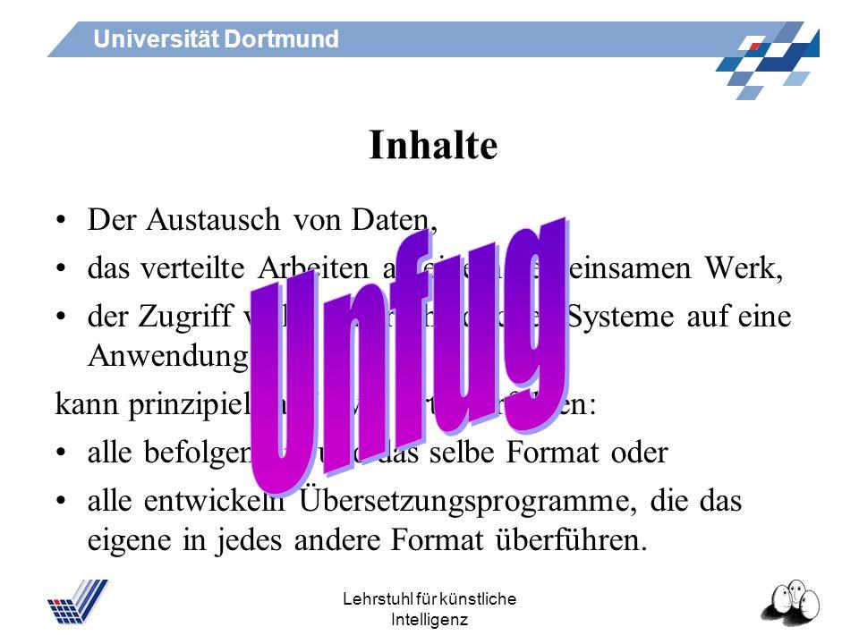 Universität Dortmund Lehrstuhl für künstliche Intelligenz Auszeichnungssprachen Inhalte Lernziele Vorgehen Einführung in die Bibliothek: Dienstag, 22.