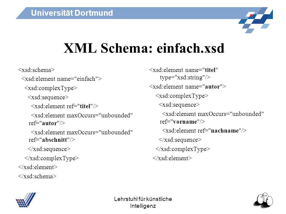 Universität Dortmund Lehrstuhl für künstliche Intelligenz XML Schema: einfach.xsd