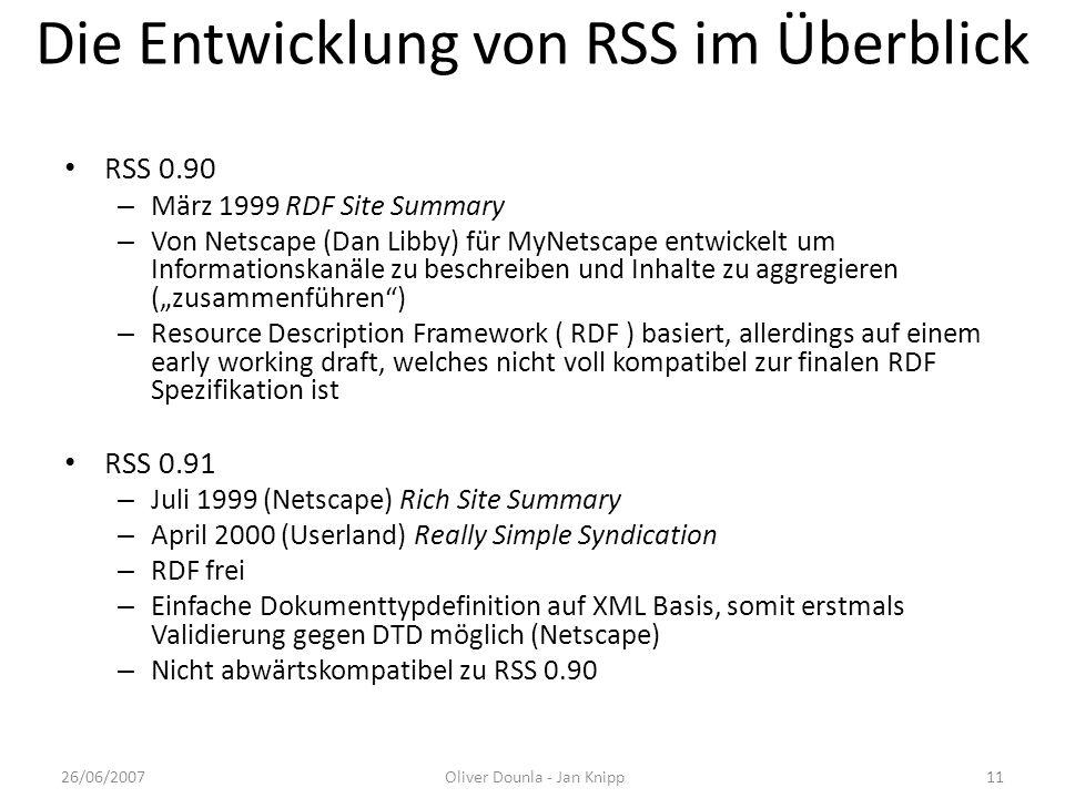 Die Entwicklung von RSS im Überblick RSS 0.90 – März 1999 RDF Site Summary – Von Netscape (Dan Libby) für MyNetscape entwickelt um Informationskanäle
