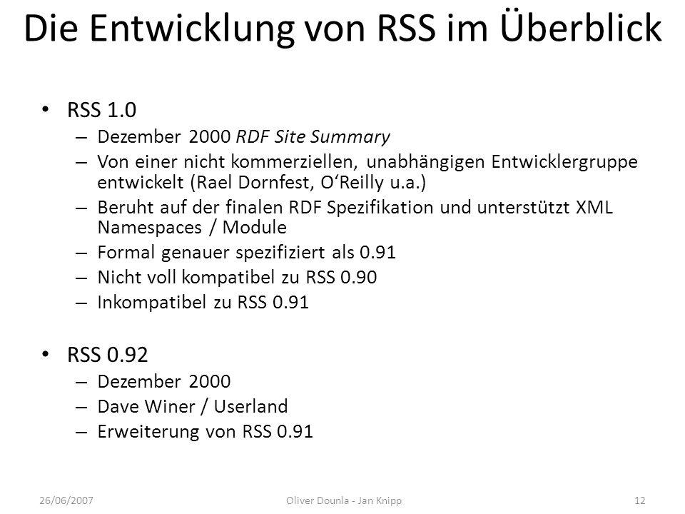 Die Entwicklung von RSS im Überblick RSS 1.0 – Dezember 2000 RDF Site Summary – Von einer nicht kommerziellen, unabhängigen Entwicklergruppe entwickel