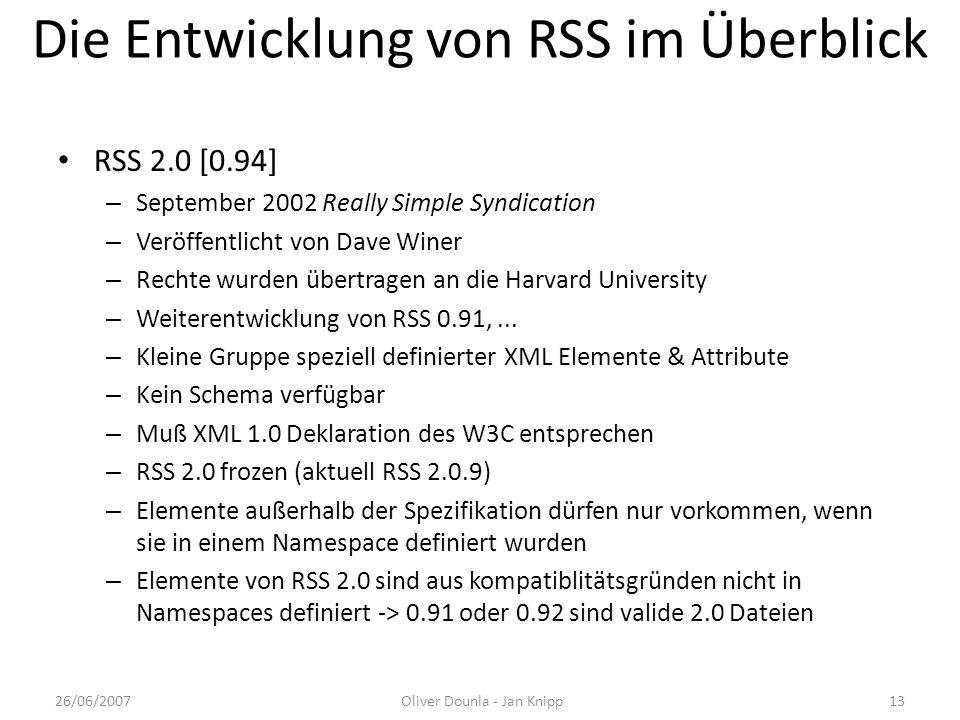 Die Entwicklung von RSS im Überblick RSS 2.0 [0.94] – September 2002 Really Simple Syndication – Veröffentlicht von Dave Winer – Rechte wurden übertra