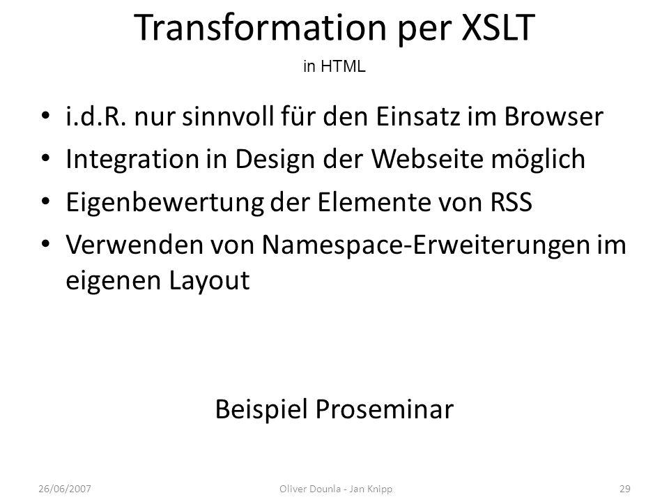 Transformation per XSLT i.d.R. nur sinnvoll für den Einsatz im Browser Integration in Design der Webseite möglich Eigenbewertung der Elemente von RSS