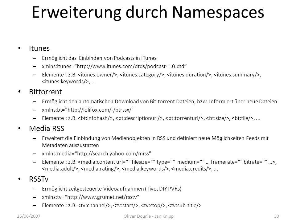 Erweiterung durch Namespaces Itunes – Ermöglicht das Einbinden von Podcasts in ITunes – xmlns:itunes=http://www.itunes.com/dtds/podcast-1.0.dtd – Elem