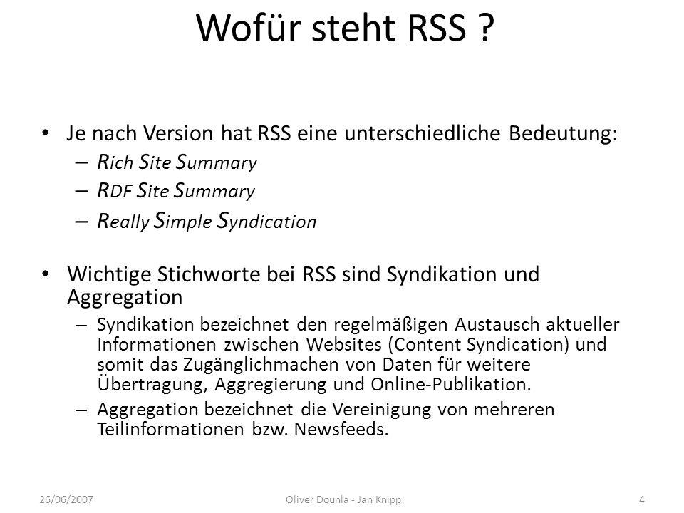Wofür steht RSS ? Je nach Version hat RSS eine unterschiedliche Bedeutung: – R ich S ite S ummary – R DF S ite S ummary – R eally S imple S yndication