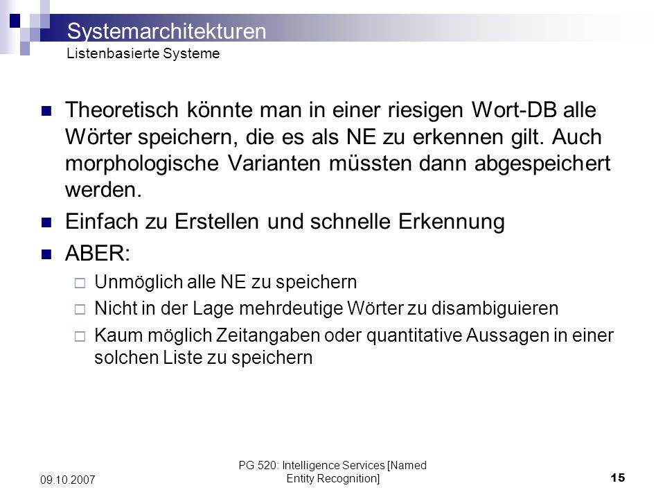 PG 520: Intelligence Services [Named Entity Recognition]15 09.10.2007 Theoretisch könnte man in einer riesigen Wort-DB alle Wörter speichern, die es a