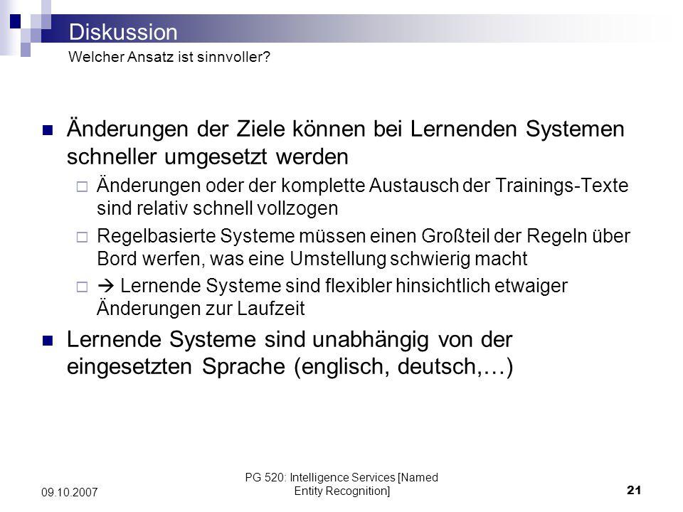 PG 520: Intelligence Services [Named Entity Recognition]21 09.10.2007 Änderungen der Ziele können bei Lernenden Systemen schneller umgesetzt werden Än
