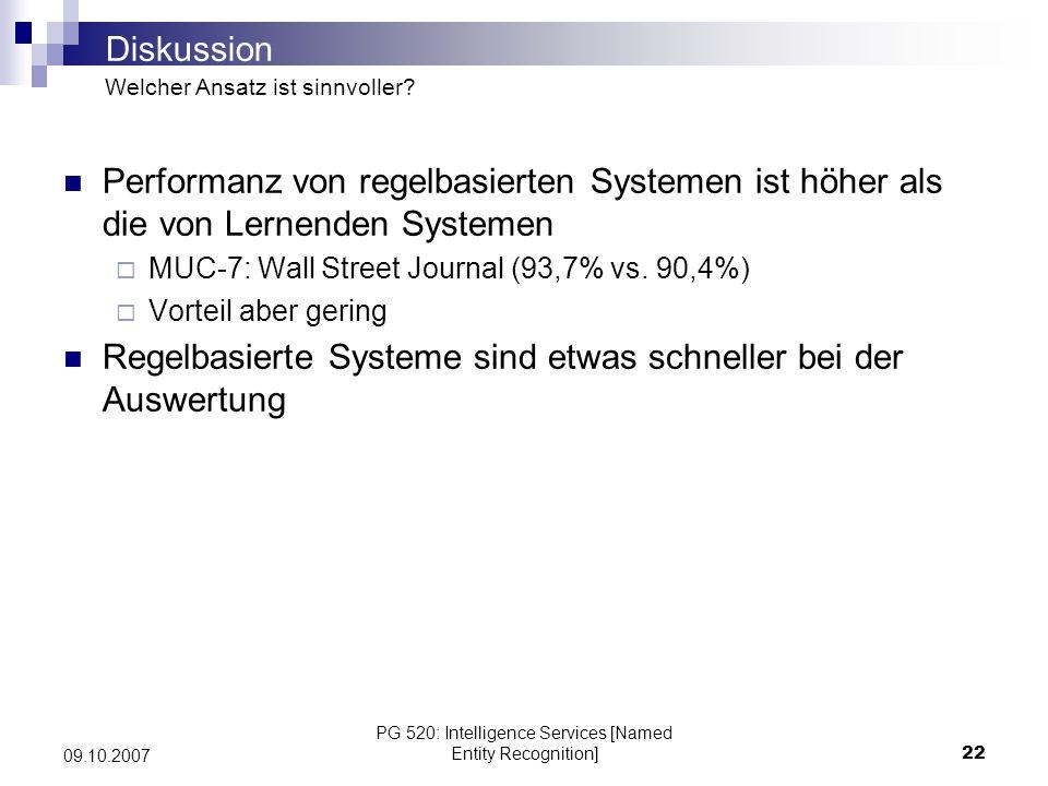 PG 520: Intelligence Services [Named Entity Recognition]22 09.10.2007 Performanz von regelbasierten Systemen ist höher als die von Lernenden Systemen