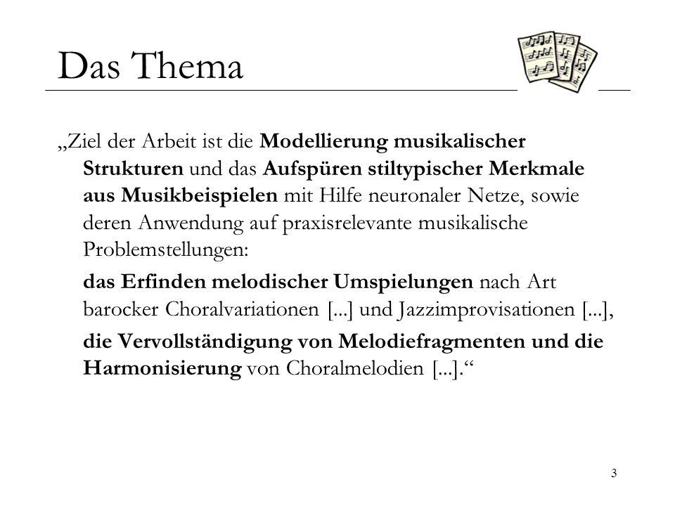 4 Übersicht Das Thema Musikalische Grundlagen – Die Elemente der Musik Technische Grundlage – Mehrstufige Neuronale Netze Improvisation von Melodieumspielungen Komposition von Melodien Harmonisierung Stilanalyse und Stilerkennung