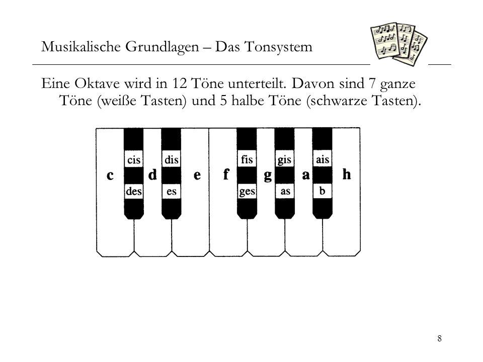 9 Musikalische Grundlagen – Das Intervall 1 Der Abstand zwischen zwei benachbarten Noten heißt Sekunde (c-d).
